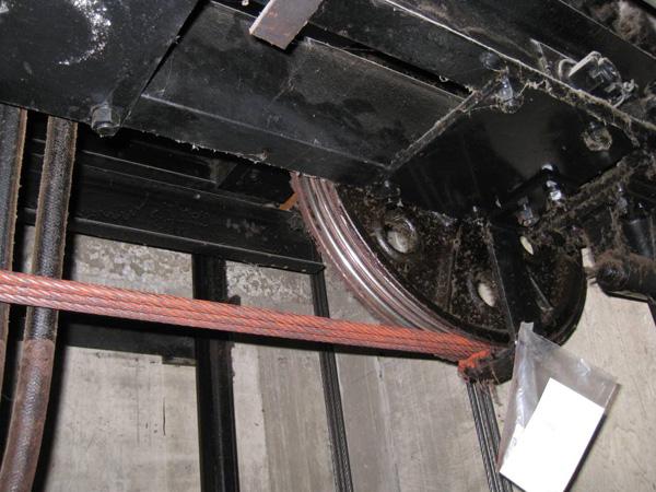 Badly corroded hoist ropes